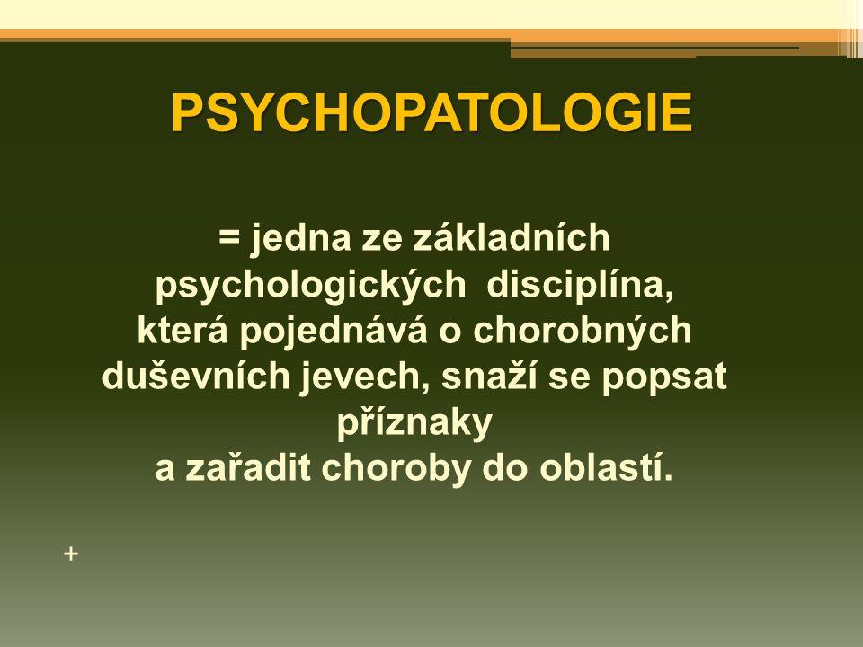 PSYCHOPATOLOGIE = jedna ze základních psychologických disciplína,