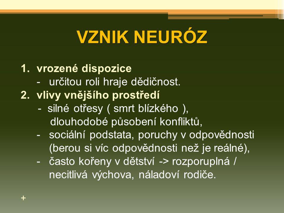 VZNIK NEURÓZ vrozené dispozice - určitou roli hraje dědičnost.