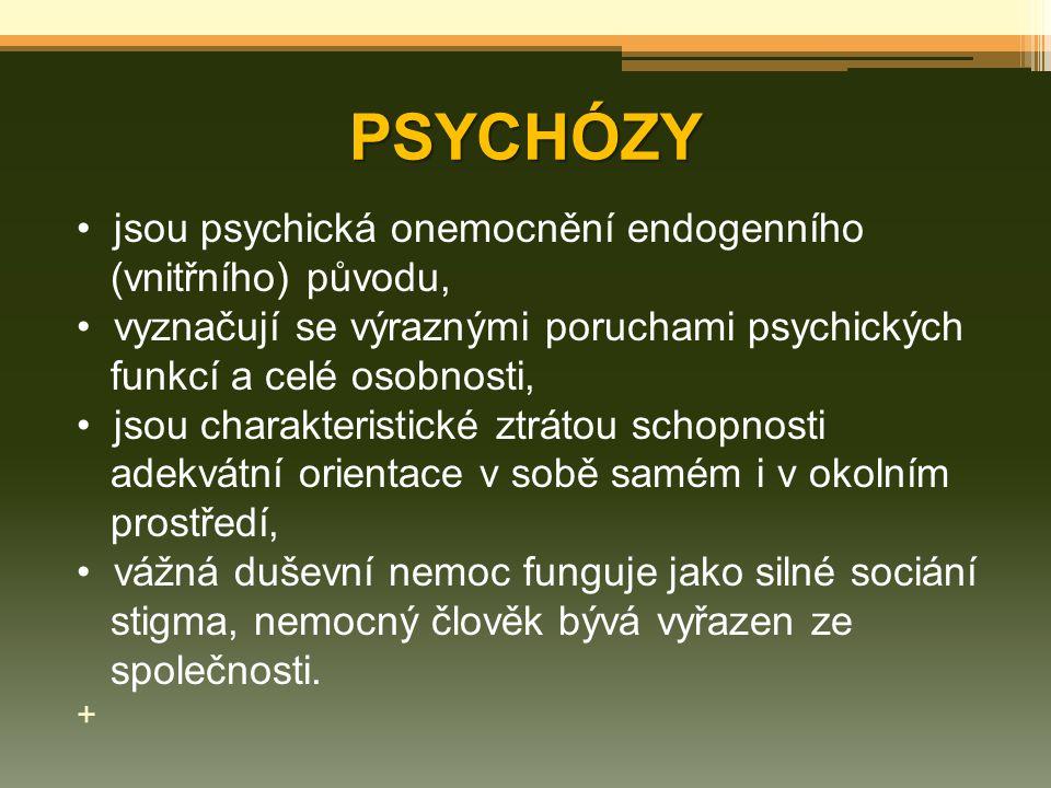 PSYCHÓZY jsou psychická onemocnění endogenního (vnitřního) původu,