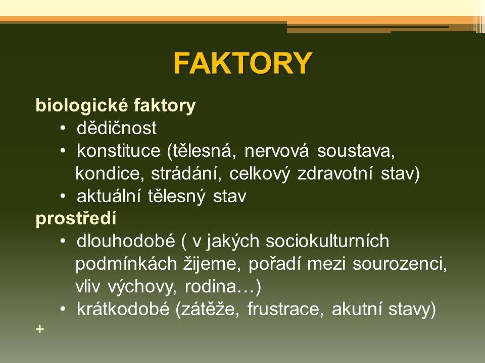 FAKTORY biologické faktory dědičnost