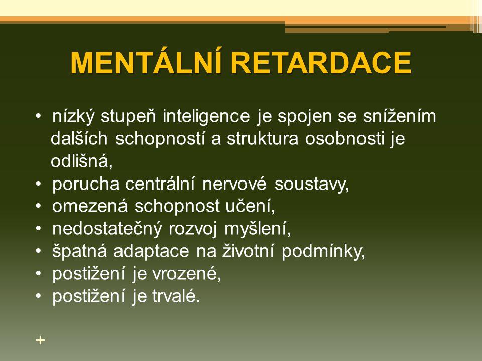 MENTÁLNÍ RETARDACE nízký stupeň inteligence je spojen se snížením