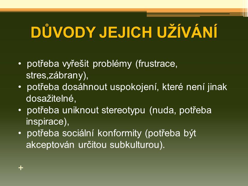 DŮVODY JEJICH UŽÍVÁNÍ potřeba vyřešit problémy (frustrace,
