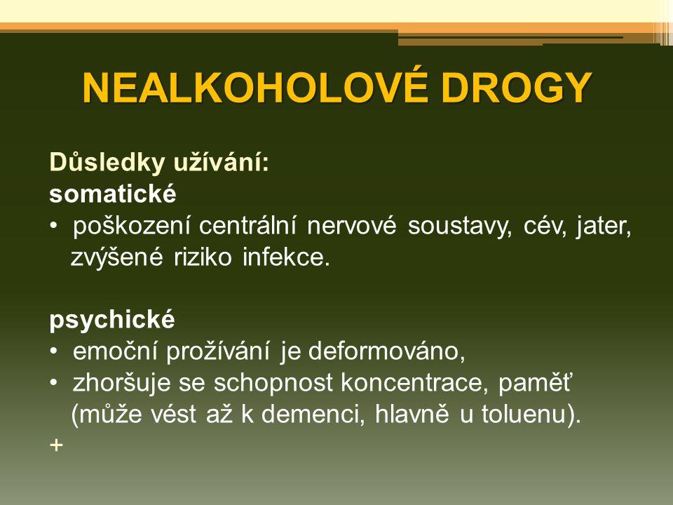NEALKOHOLOVÉ DROGY Důsledky užívání: somatické
