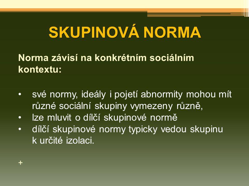 SKUPINOVÁ NORMA Norma závisí na konkrétním sociálním kontextu: