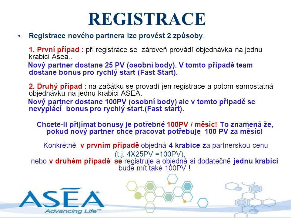 REGISTRACE Registrace nového partnera lze provést 2 způsoby. 1. První případ : při registrace se zároveň provádí objednávka na jednu krabici Asea..