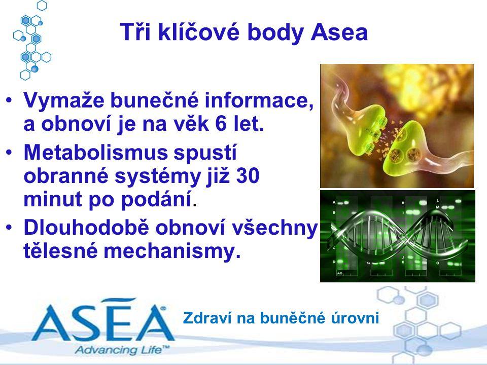 Tři klíčové body Asea Vymaže bunečné informace, a obnoví je na věk 6 let. Metabolismus spustí obranné systémy již 30 minut po podání.