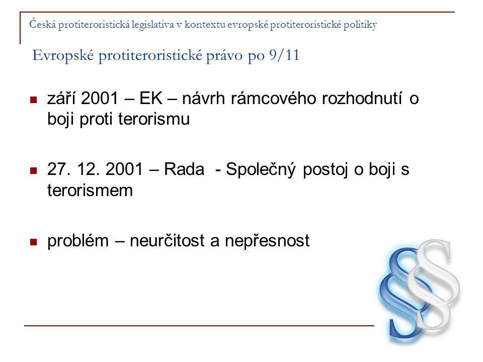 září 2001 – EK – návrh rámcového rozhodnutí o boji proti terorismu