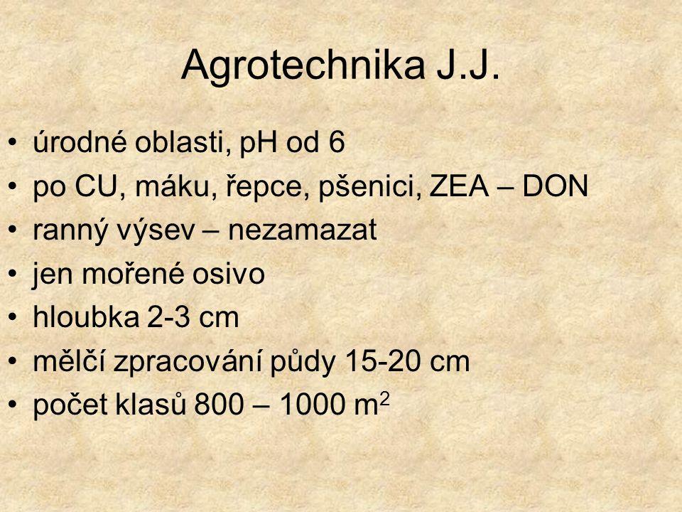 Agrotechnika J.J. úrodné oblasti, pH od 6