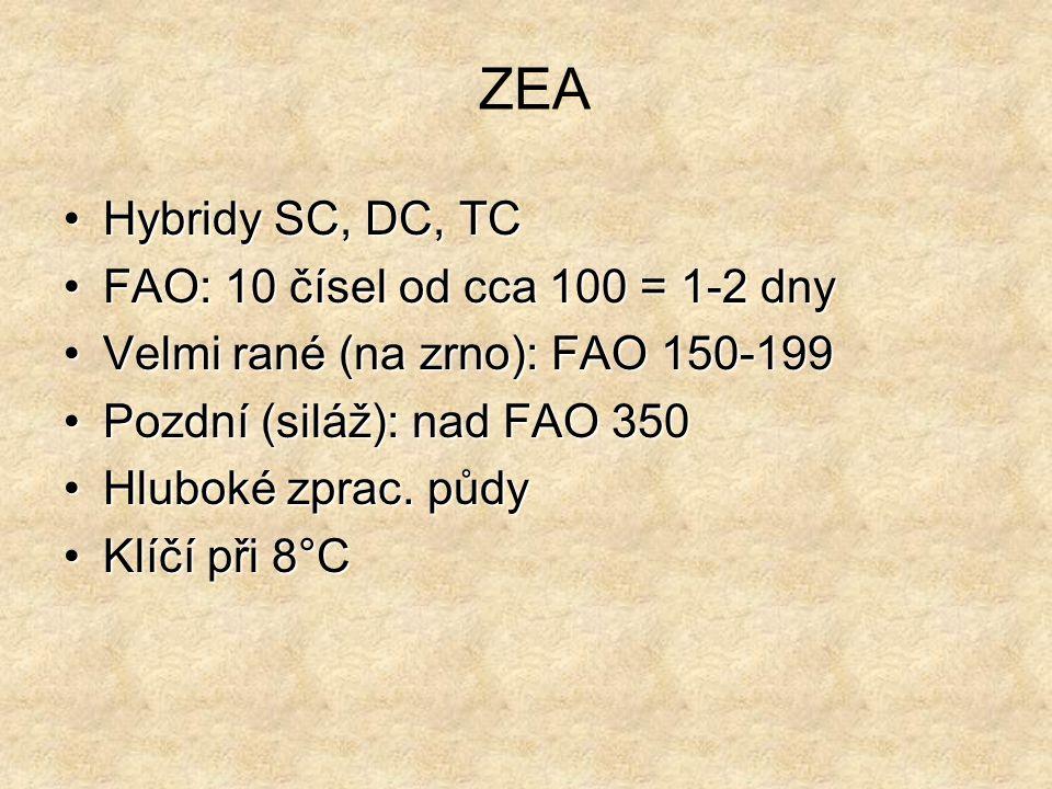 ZEA Hybridy SC, DC, TC FAO: 10 čísel od cca 100 = 1-2 dny