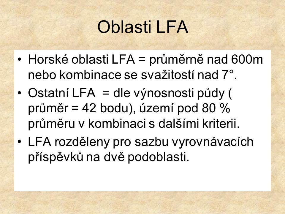 Oblasti LFA Horské oblasti LFA = průměrně nad 600m nebo kombinace se svažitostí nad 7°.