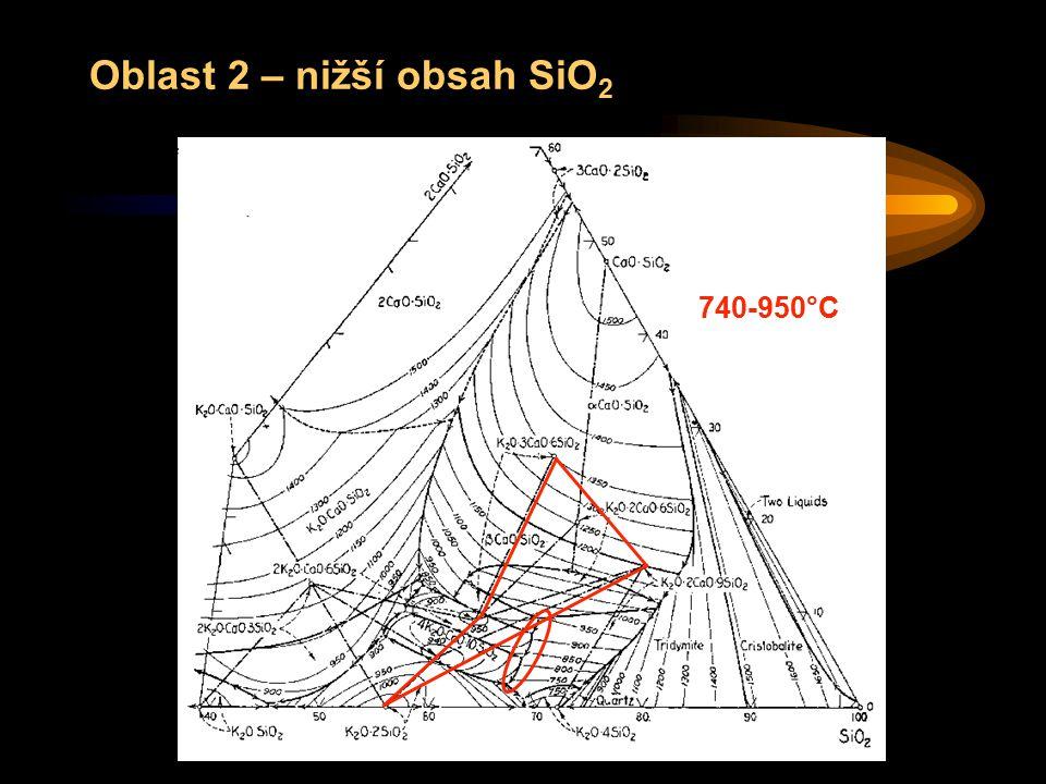 Oblast 2 – nižší obsah SiO2