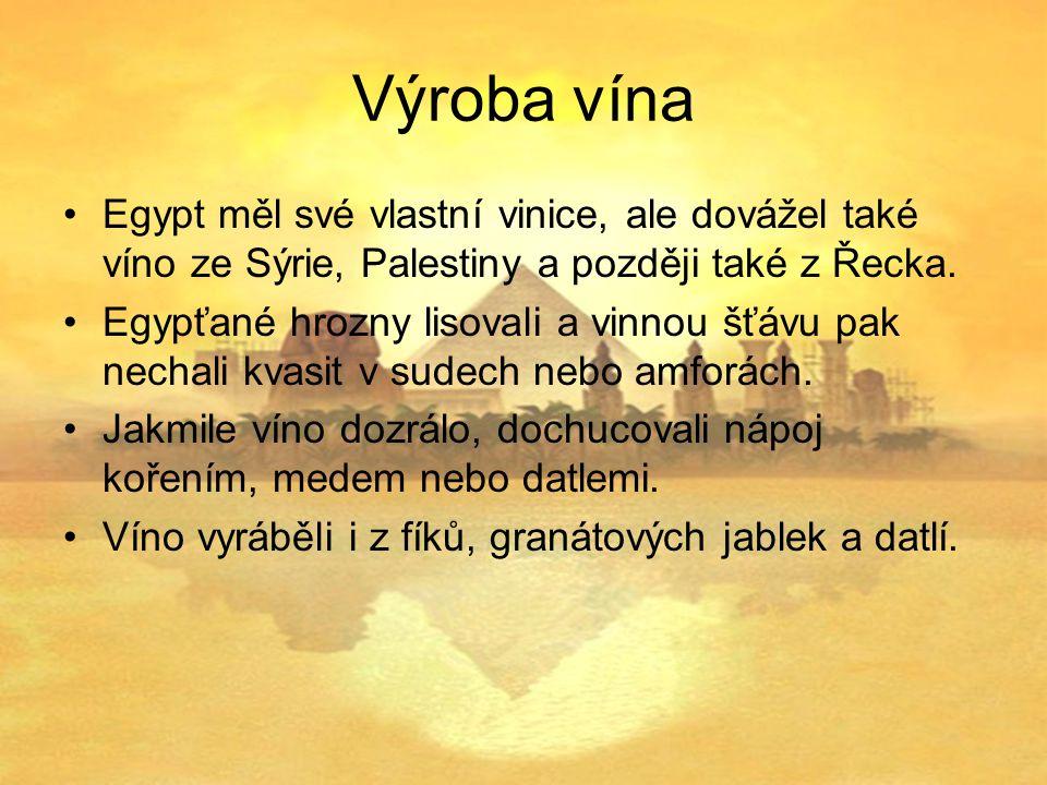 Výroba vína Egypt měl své vlastní vinice, ale dovážel také víno ze Sýrie, Palestiny a později také z Řecka.