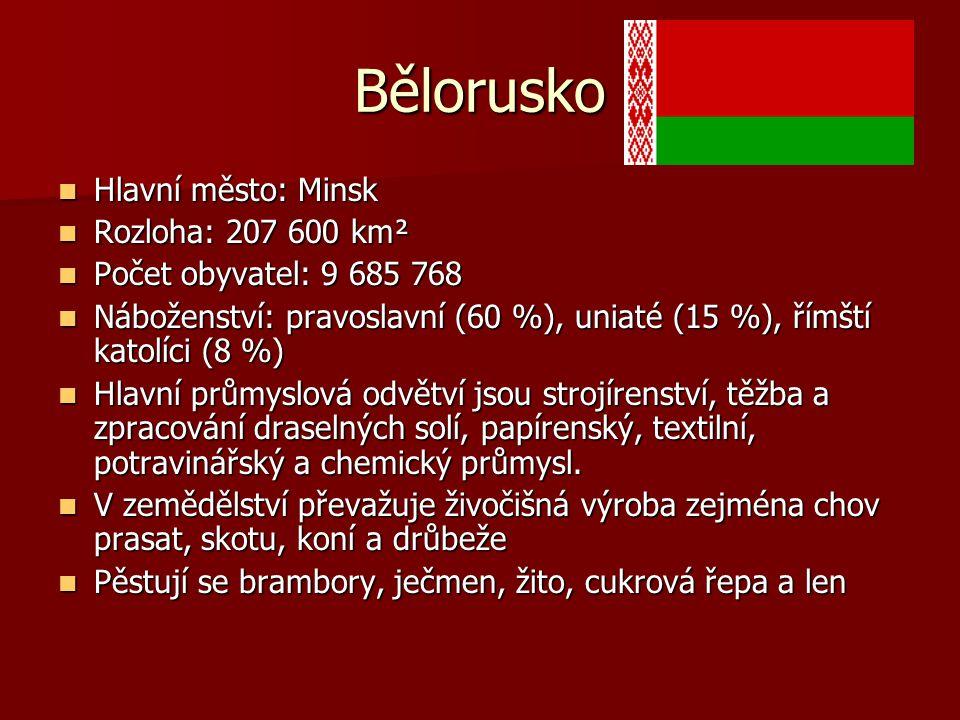 Bělorusko Hlavní město: Minsk Rozloha: 207 600 km²