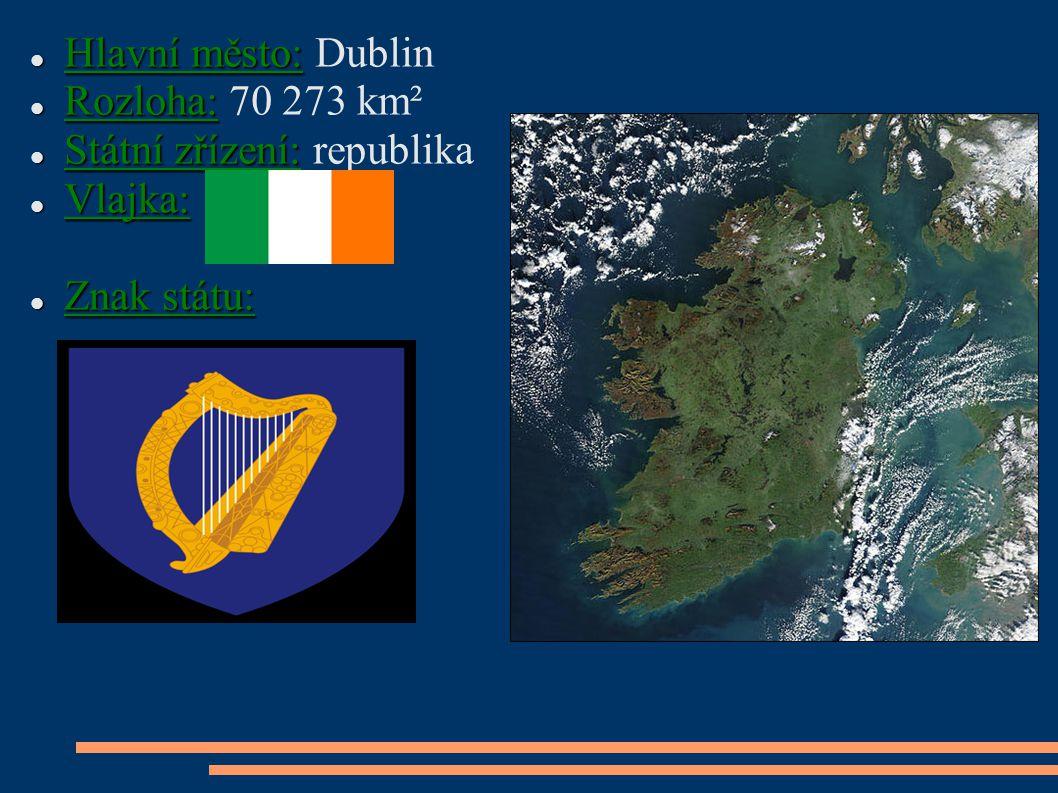 Hlavní město: Dublin Rozloha: 70 273 km² Státní zřízení: republika Vlajka: Znak státu: