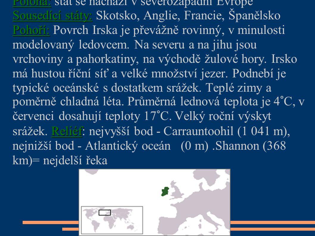 Poloha: stát se nachází v severozápadní Evropě