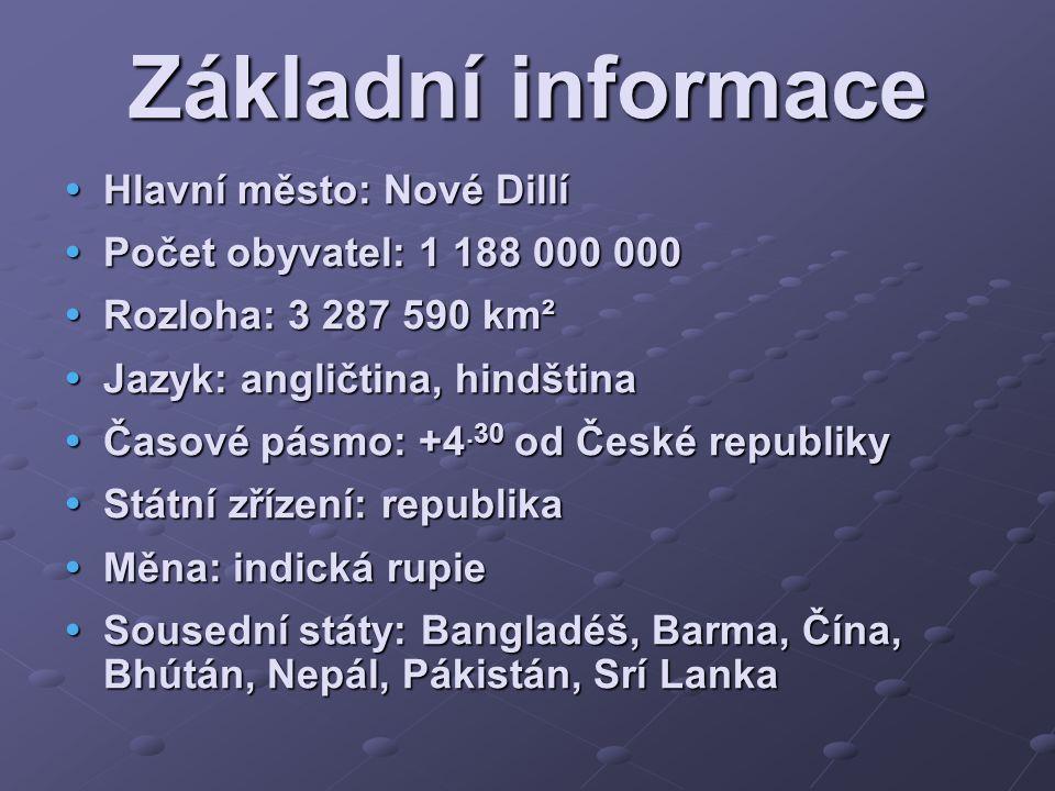 Základní informace Hlavní město: Nové Dillí