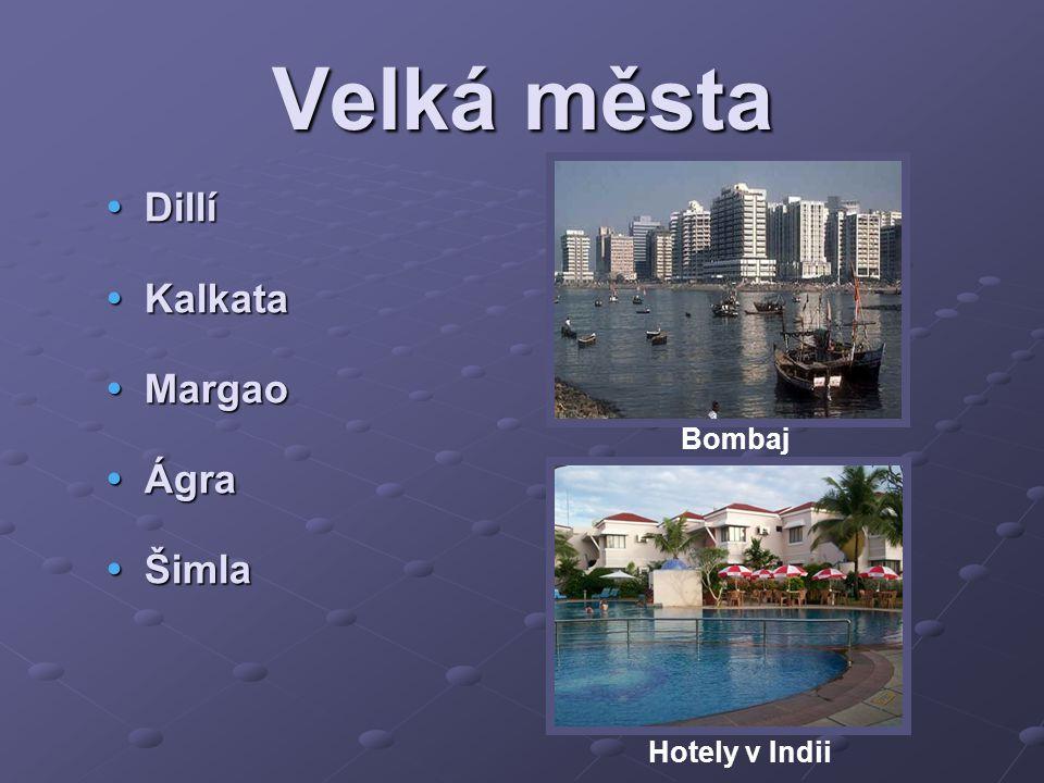 Velká města Dillí Kalkata Margao Ágra Šimla Bombaj Hotely v Indii