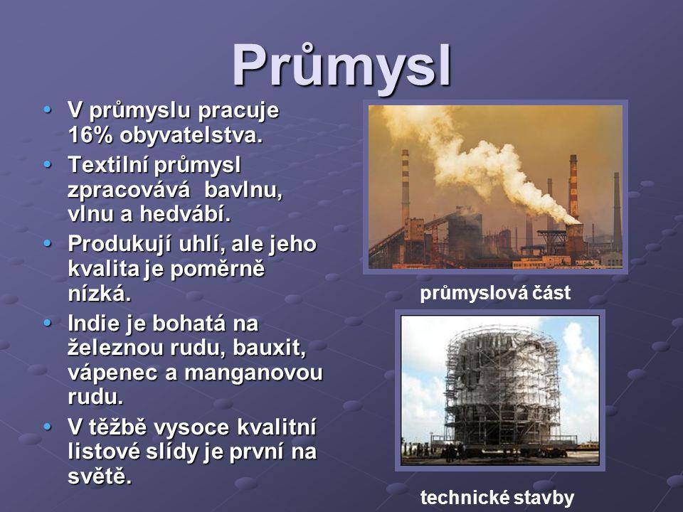 Průmysl V průmyslu pracuje 16% obyvatelstva.