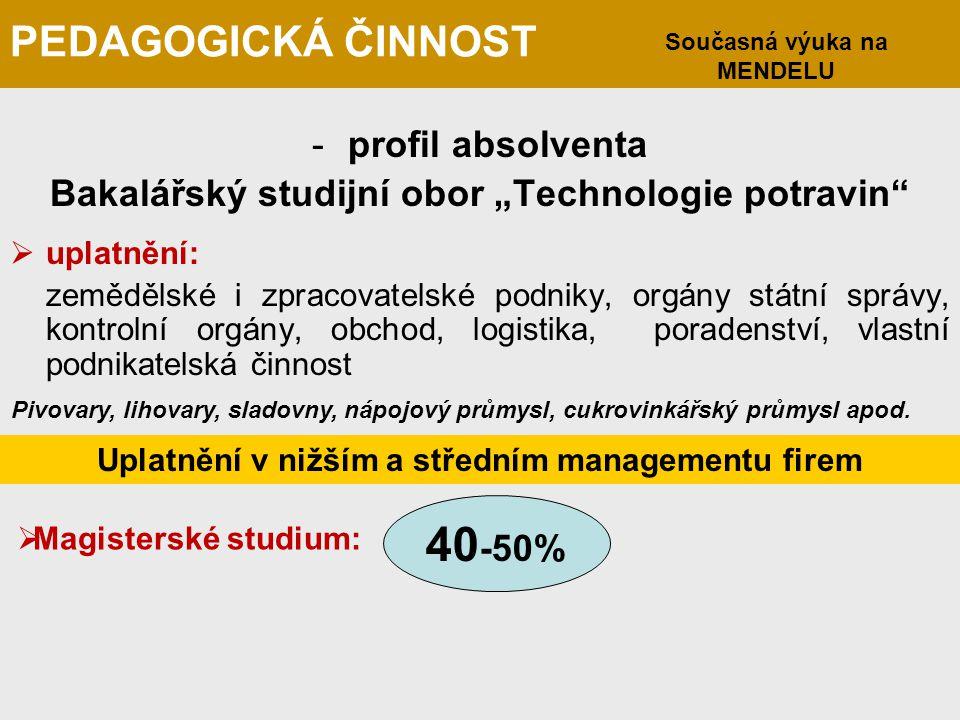 40-50% PEDAGOGICKÁ ČINNOST profil absolventa