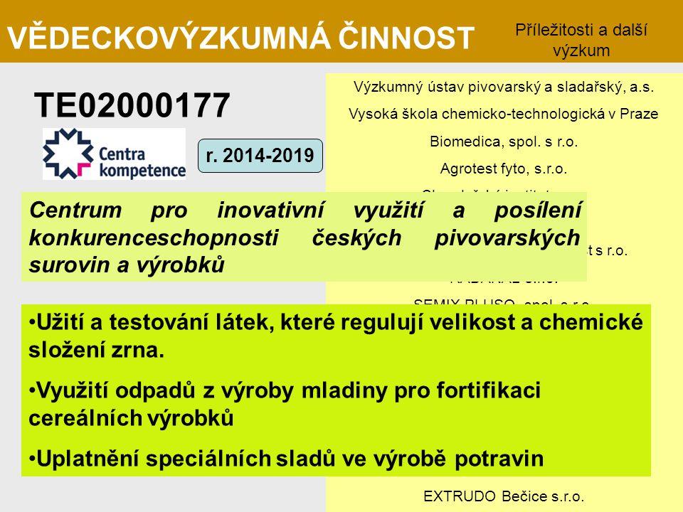 TE02000177 VĚDECKOVÝZKUMNÁ ČINNOST