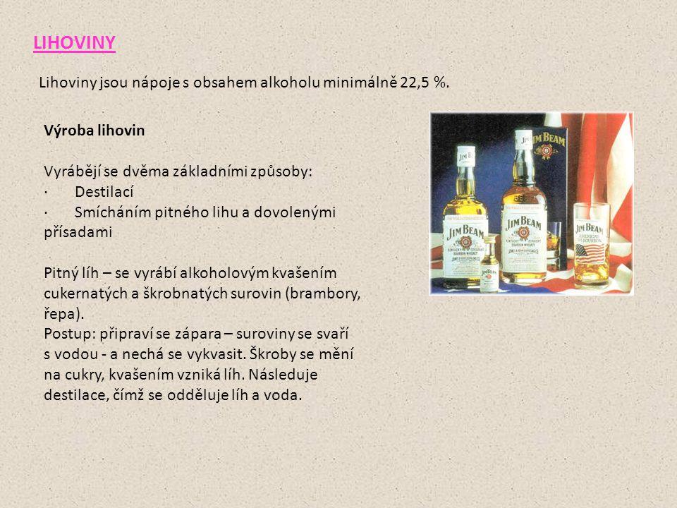 LIHOVINY Lihoviny jsou nápoje s obsahem alkoholu minimálně 22,5 %.