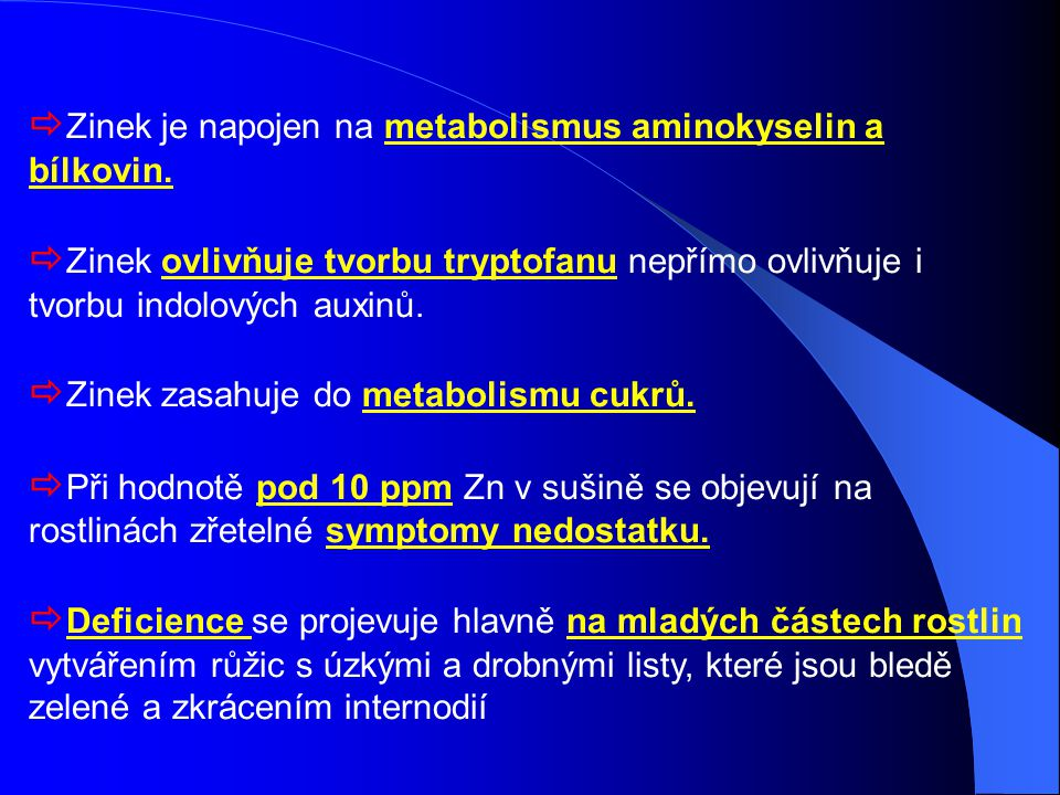 Zinek je napojen na metabolismus aminokyselin a bílkovin.