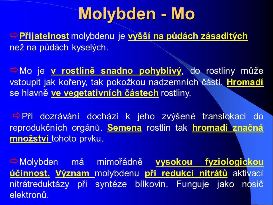 Molybden - Mo Přijatelnost molybdenu je vyšší na půdách zásaditých než na půdách kyselých.