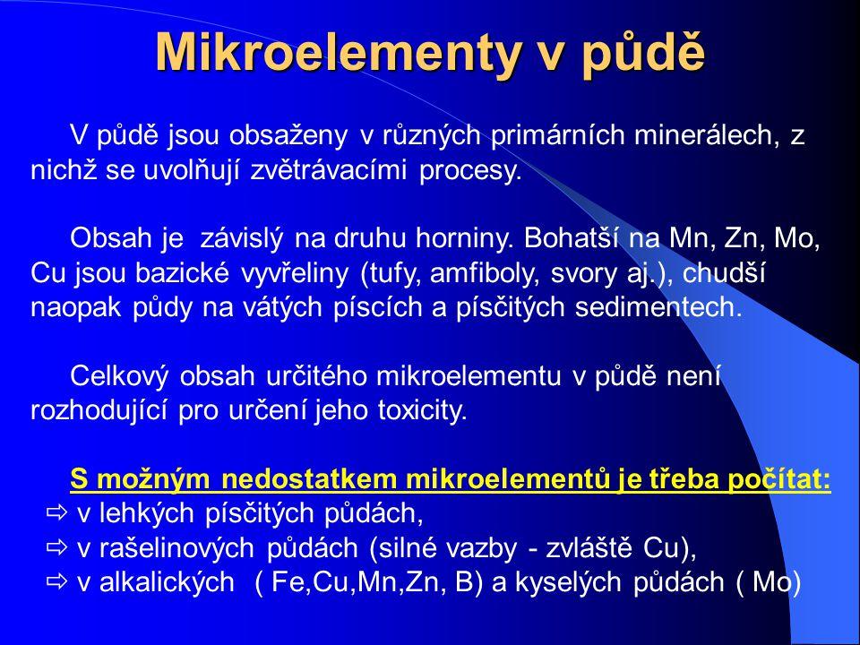 Mikroelementy v půdě V půdě jsou obsaženy v různých primárních minerálech, z nichž se uvolňují zvětrávacími procesy.