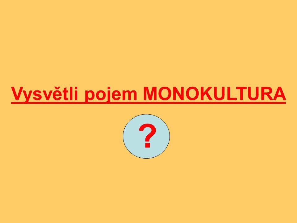 Vysvětli pojem MONOKULTURA