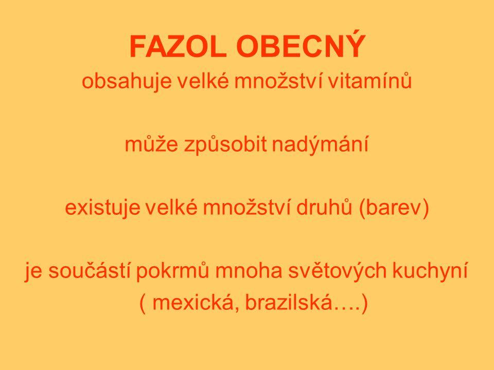 FAZOL OBECNÝ obsahuje velké množství vitamínů může způsobit nadýmání