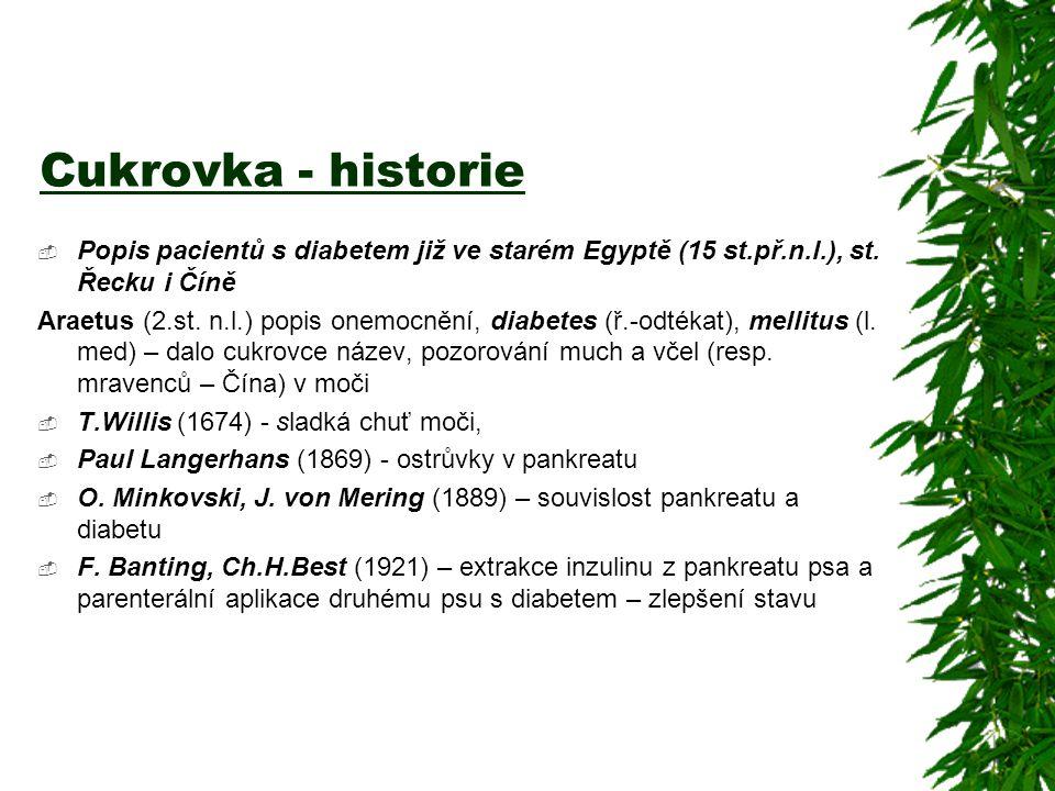 Cukrovka - historie Popis pacientů s diabetem již ve starém Egyptě (15 st.př.n.l.), st. Řecku i Číně.