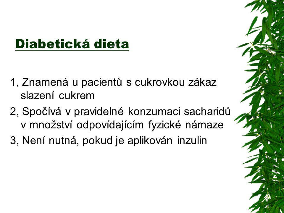 Diabetická dieta 1, Znamená u pacientů s cukrovkou zákaz slazení cukrem.