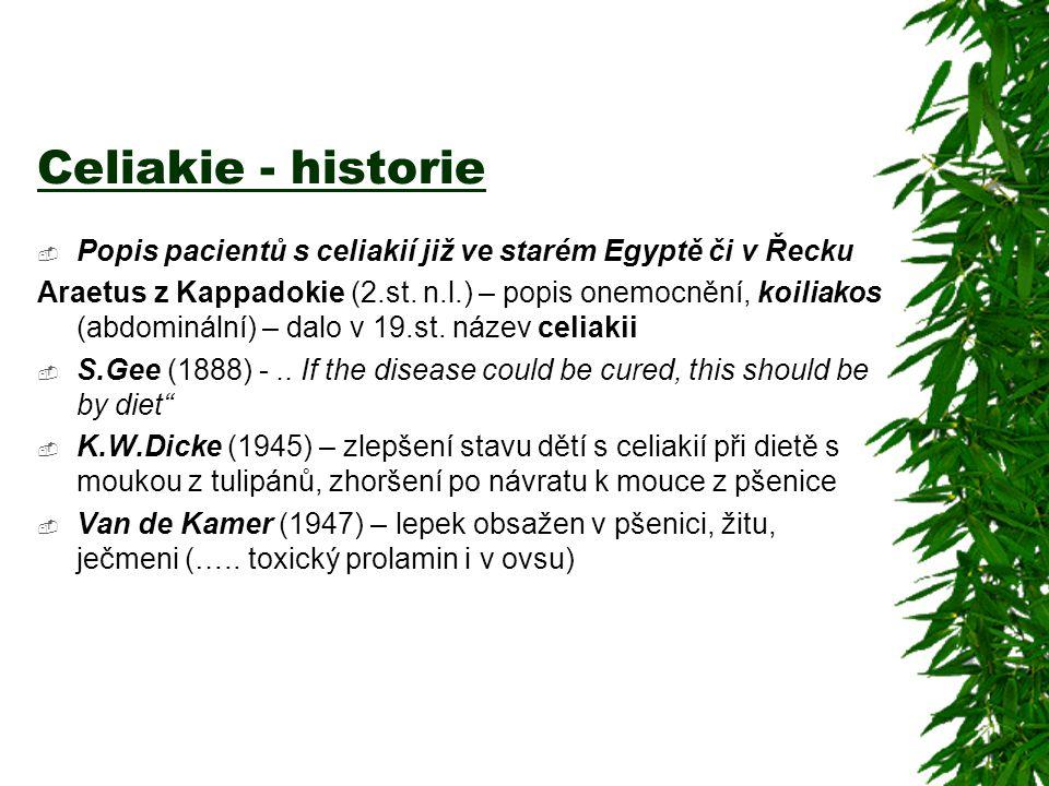 Celiakie - historie Popis pacientů s celiakií již ve starém Egyptě či v Řecku.