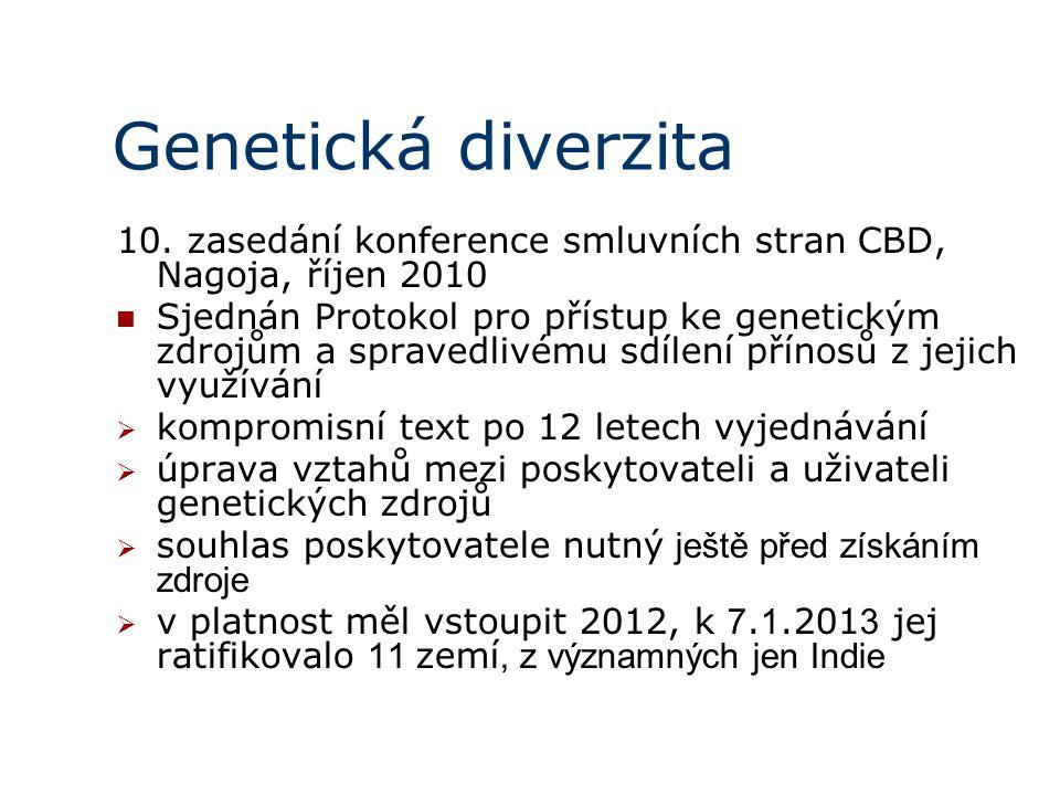 Genetická diverzita 10. zasedání konference smluvních stran CBD, Nagoja, říjen 2010.