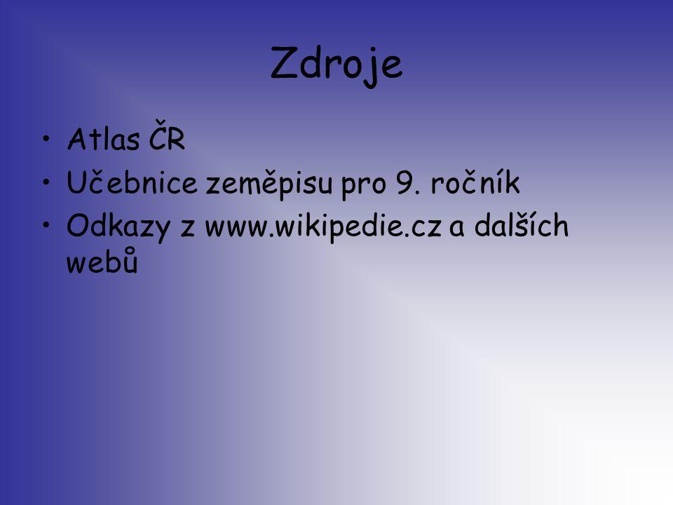 Zdroje Atlas ČR Učebnice zeměpisu pro 9. ročník