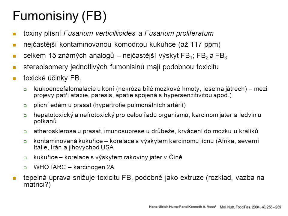 Fumonisiny (FB) toxiny plísní Fusarium verticillioides a Fusarium proliferatum. nejčastější kontaminovanou komoditou kukuřice (až 117 ppm)