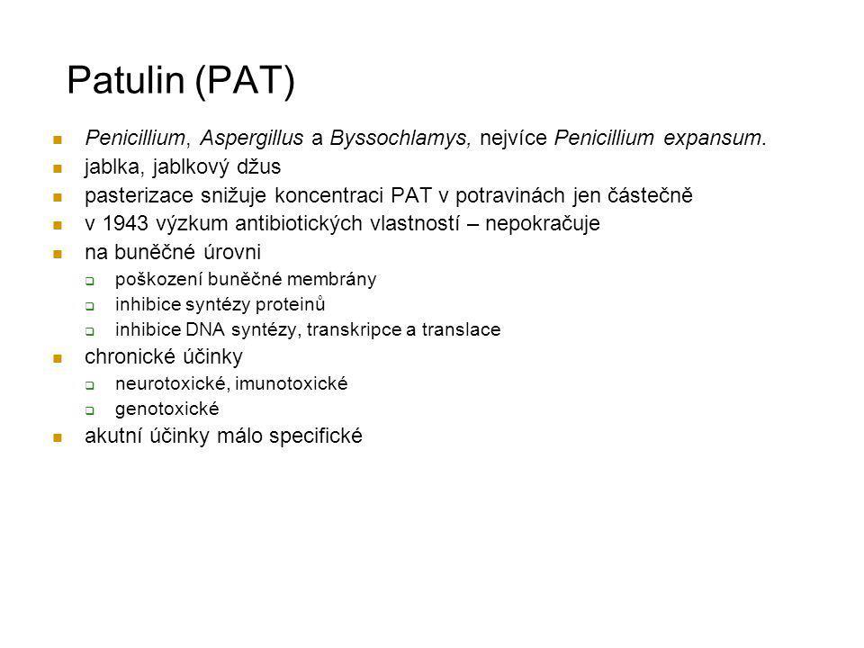 Patulin (PAT) Penicillium, Aspergillus a Byssochlamys, nejvíce Penicillium expansum. jablka, jablkový džus.