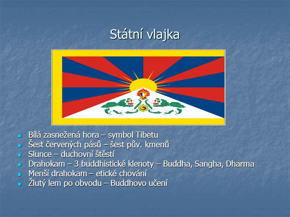 Státní vlajka Bílá zasnežená hora – symbol Tibetu