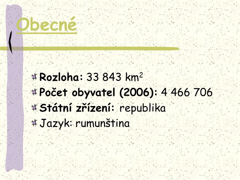 Obecné Rozloha: 33 843 km2 Počet obyvatel (2006): 4 466 706