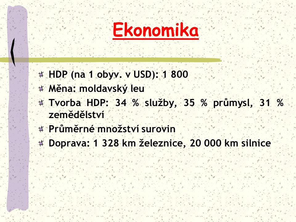 Ekonomika HDP (na 1 obyv. v USD): 1 800 Měna: moldavský leu