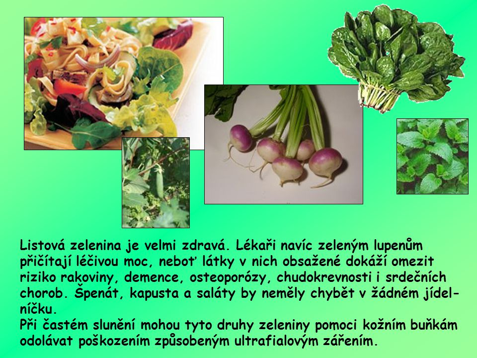 Listová zelenina je velmi zdravá. Lékaři navíc zeleným lupenům