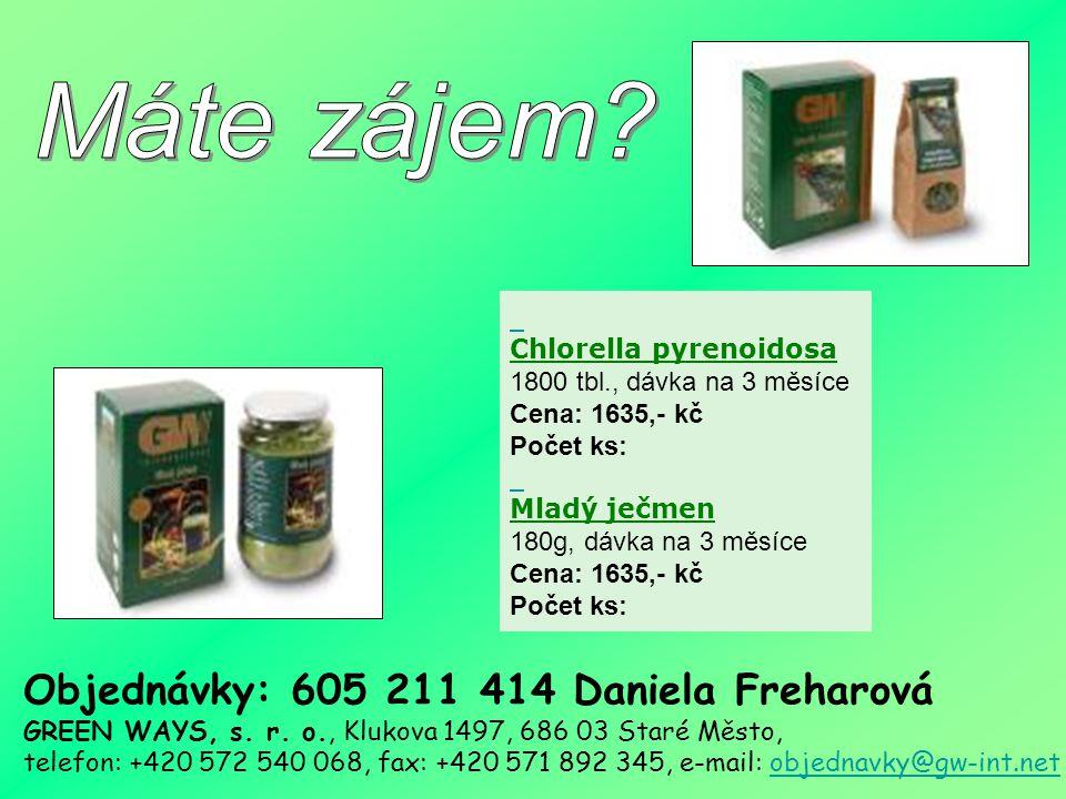 Máte zájem Chlorella pyrenoidosa. 1800 tbl., dávka na 3 měsíce. Cena: 1635,- kč.