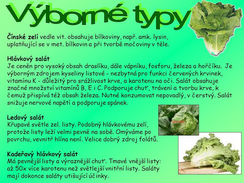 Výborné typy Čínské zelí vedle vit. obsahuje bílkoviny, např. amk. lysin, uplatňující se v met. bílkovin a při tvorbě močoviny v těle.