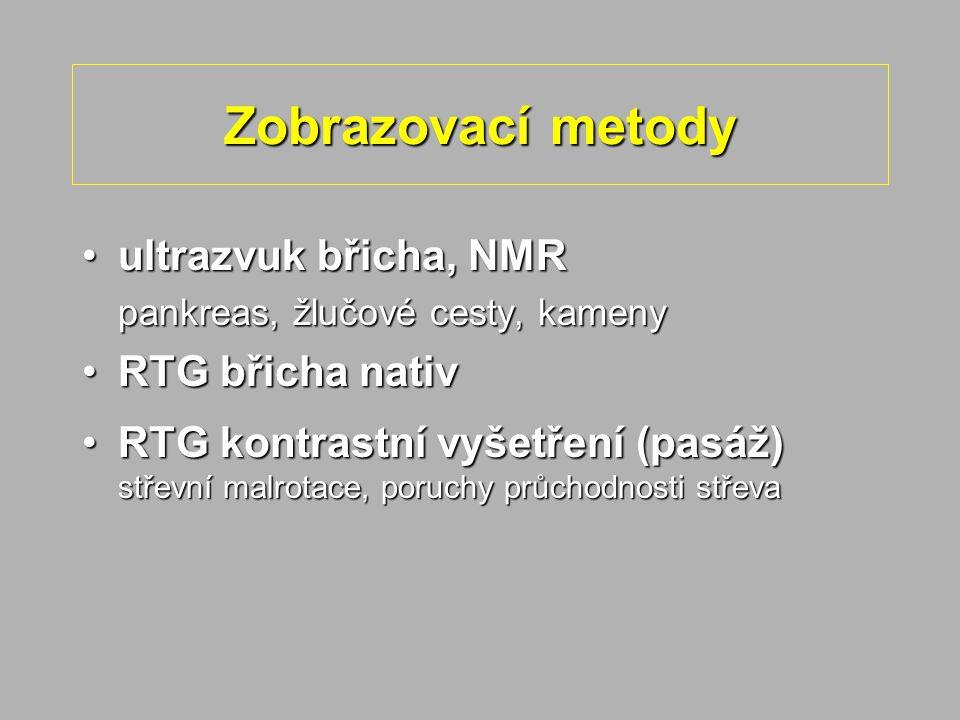 Zobrazovací metody ultrazvuk břicha, NMR RTG břicha nativ