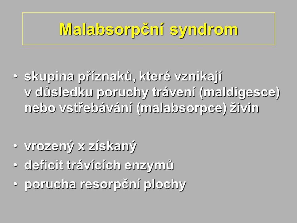 Malabsorpční syndrom skupina příznaků, které vznikají v důsledku poruchy trávení (maldigesce) nebo vstřebávání (malabsorpce) živin.