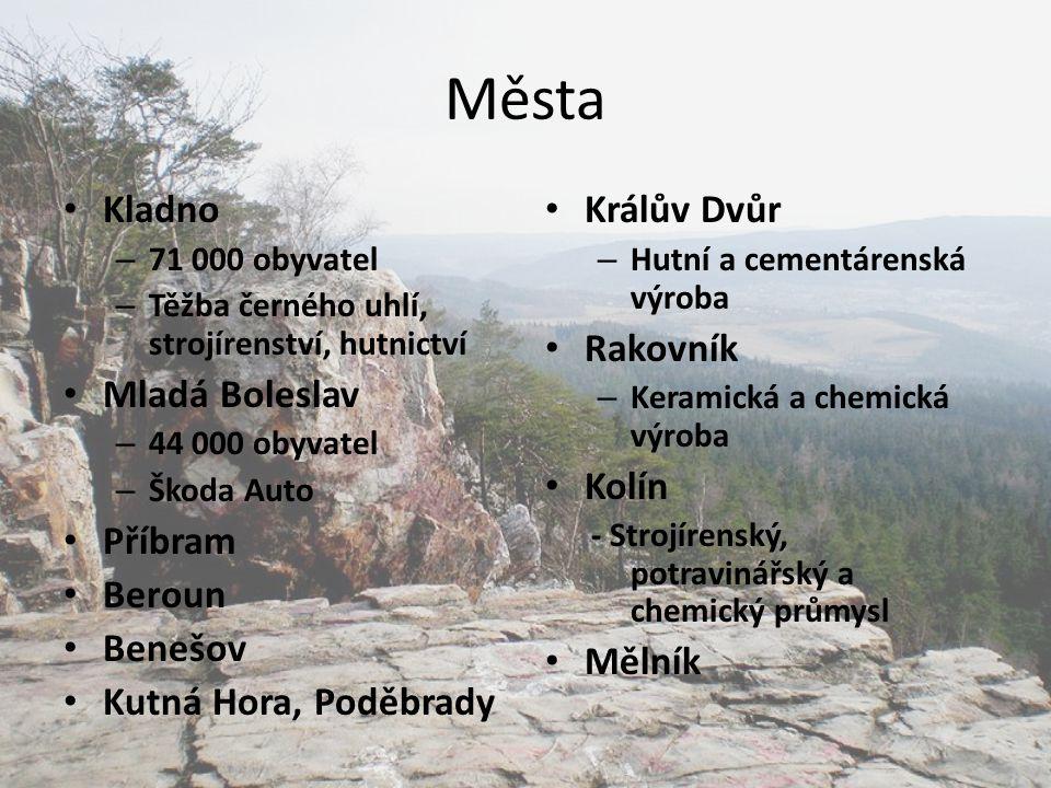 Města Kladno Mladá Boleslav Příbram Beroun Benešov