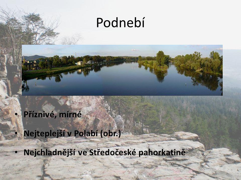 Podnebí Příznivé, mírné Nejteplejší v Polabí (obr.)