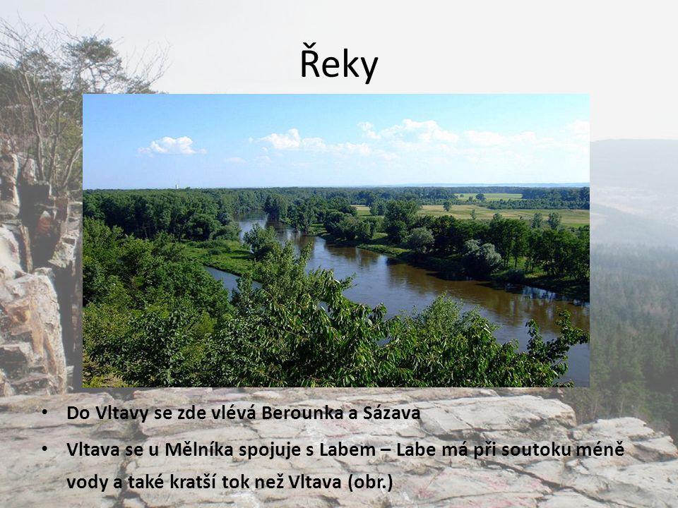Řeky Do Vltavy se zde vlévá Berounka a Sázava