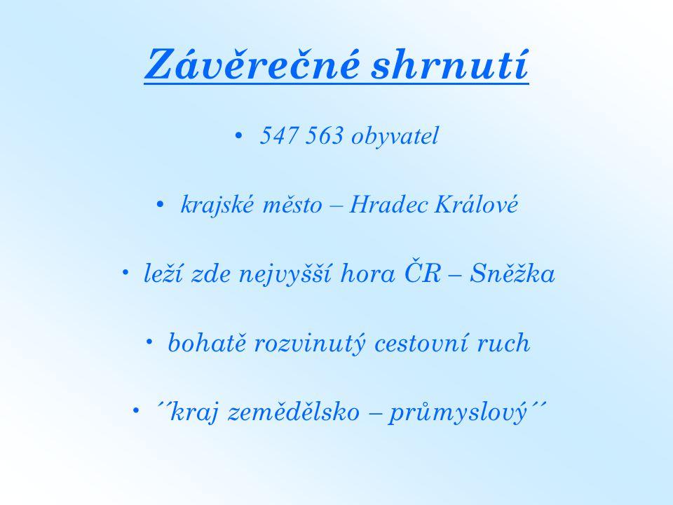 Závěrečné shrnutí 547 563 obyvatel krajské město – Hradec Králové