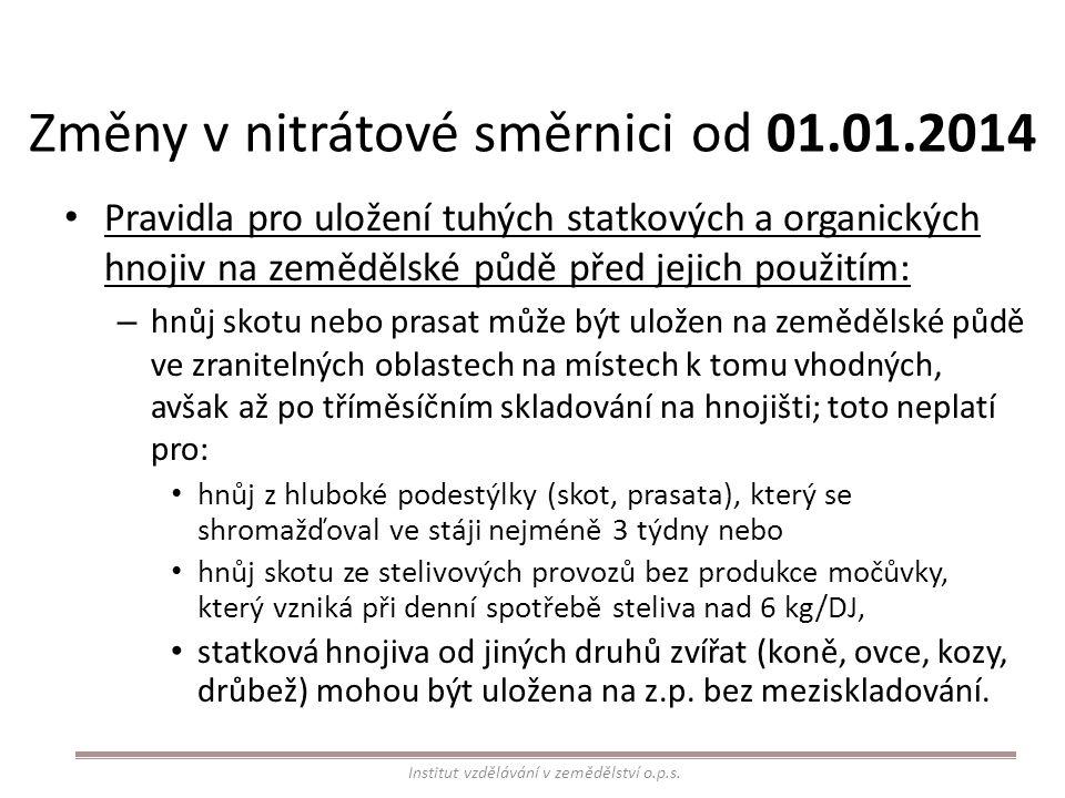 Změny v nitrátové směrnici od 01.01.2014